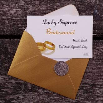 Wedding Lucky Sixpence for the Bridesmaid - Gold Rings Collection